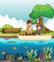 Dos hombres pescando