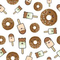 Seamless pattern. cute kawaii styled ice cream and chocolate glazed donuts.