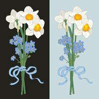 Narcis et myosotis. Bouquet dessiné à la main sur fond sombre. Illustration vectorielle