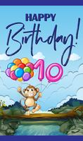 Birthday card with monkey and balloon number ten