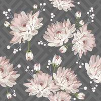 Floral seamless pattern with chrysanthemums on grey geometric background. Vector illustration