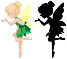 Cute fairy and its silhouette