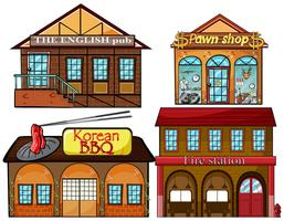 English pub, Korean restaurant, pawnshop and fire station vector