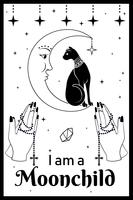 Black Cat on the Moon. Praying hands holding a rosary. I am a Moonchild text
