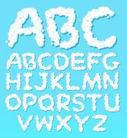 Een set van Engelse alfabet wolk lettertype