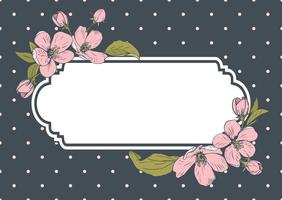 Card template with text. Floral frame on polka dot background