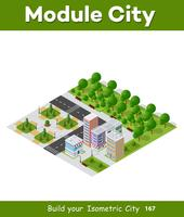 City isometric of urban infrastructure business. Vector