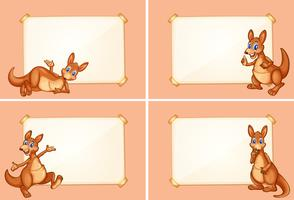 Four border templates with cute kangaroo