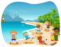 Crianças, tocando, praia