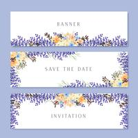 Watercolor flowers with text banner, lush flowers aquarelle hand painted isolated on white background. Design border for card, save the date, wedding invitation cards, poster, banner design.
