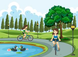 Young girls riding bicycle vector