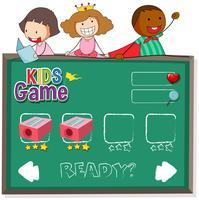 Doodle crianças no modelo de jogo vetor