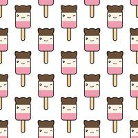 Seamless pattern. cute kawaii styled ice cream vector