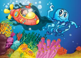 pulpo y niños en submarino