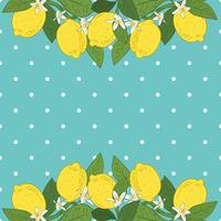 Tropical citrus lemon fruits bright background. Poster with lemons, green leaves and flowers on turquoise blue polka dot. Summer colorful design.
