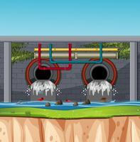 Escena de un túnel de aguas residuales.