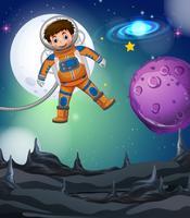 Astronaut som flyger i den djupa galaxen