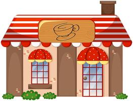 A coffee shop on white background