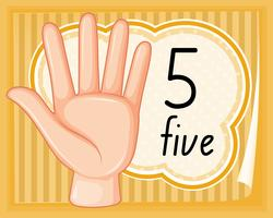 Number five hand gesture vector