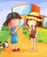 Um menino e uma menina tendo conversão