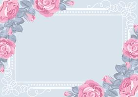 Flora card template with roses and frame. vector