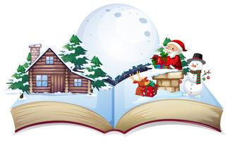 Chirstmas theme on open book