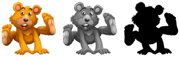Conjunto de personagem de urso