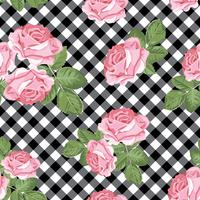 Roses seamless pattern on black and white gingham, chequered background. Vector illustration