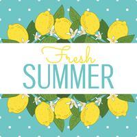 Scheda di estate brillante frutti tropicali di agrumi limone. Poster con limoni, foglie verdi e fiori su pois blu turchese. Estate sfondo colorato