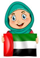 Cute girl and flag of Arab Emirates