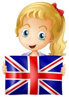 Happy girl holding flag of United Kingdom