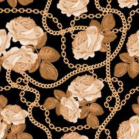 Seamless pattern background with golden chains and beige roses. On black. Vector illustration