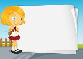 Diseño de borde con niña en uniforme escolar.
