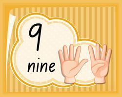 Número nueve gesto de la mano