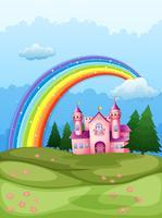 Um castelo no topo da colina com um arco-íris no céu