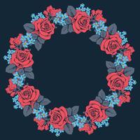 Patrón redondo floral sobre fondo negro. Ilustración vectorial