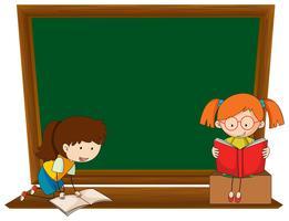 Doodle girl on blackboard