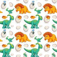 Gullig dinosaur sömlös bakgrund