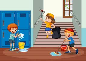 voluntário crianças limpando o corredor da escola