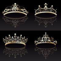 set collection of four golden with pearls feminine tiaras