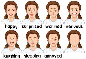 Set of girl facial expression vector