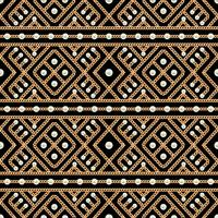 Seamless pattern of Gold chain geometrical ornament and pearls on black background. Vector illustration