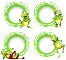 Four frame templates with happy frogs