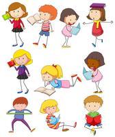 Crianças diferentes, lendo livros