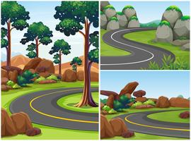 Three road scenes with trees alongside