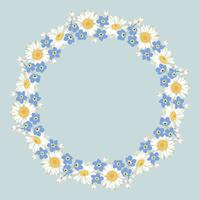 Kamille und Vergissmeinnicht-Blumenmuster auf blauem Hintergrund
