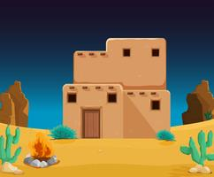 An adobe house at desert vector