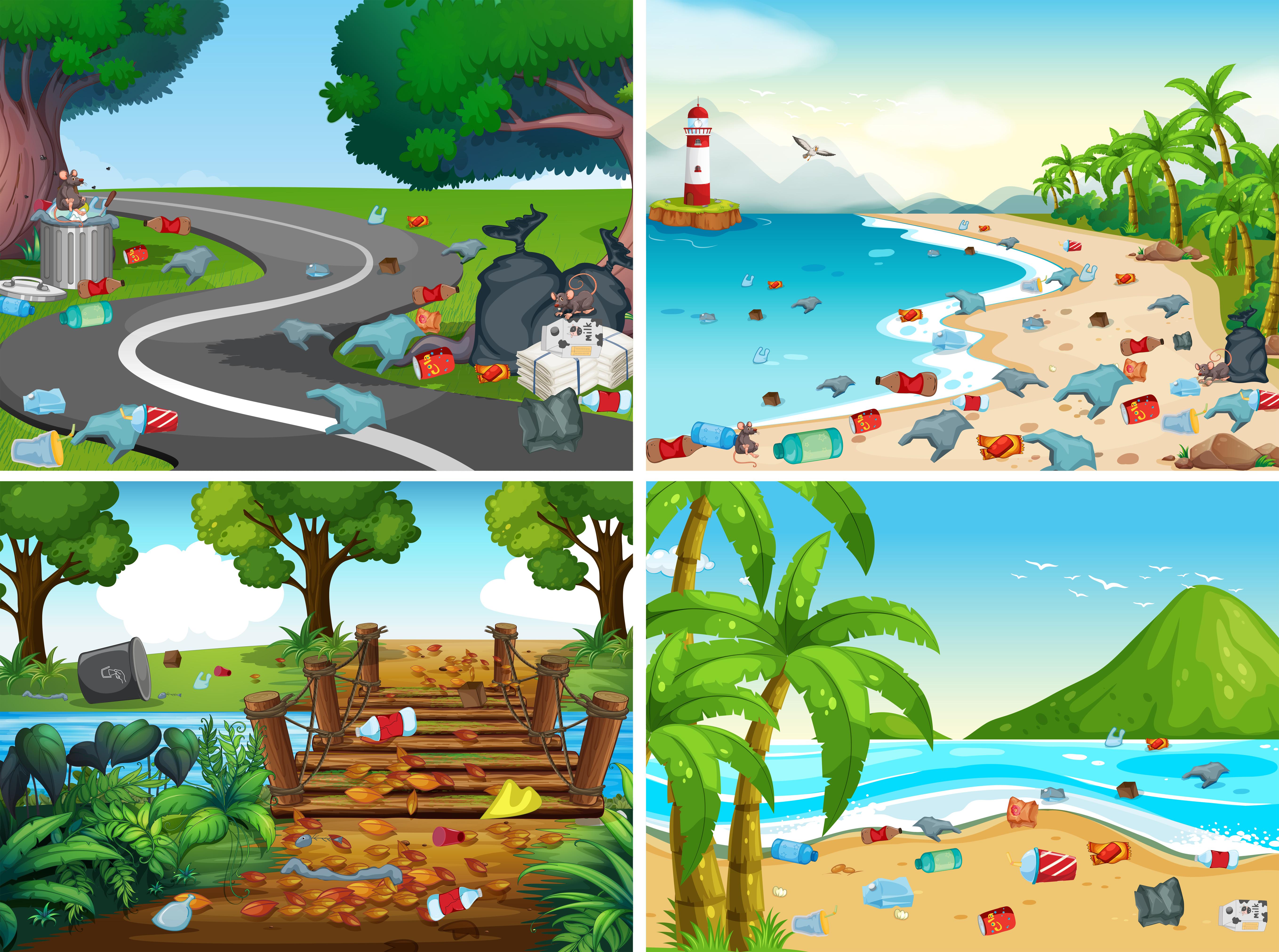 Um Conjunto De Poluicao Ambiental Download Vetores Gratis