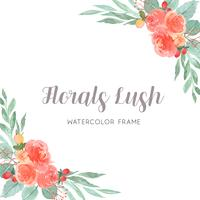 Watercolor florals hand painted with text wreaths frame border, lush flowers  vector