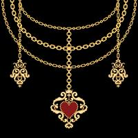Background with chains golden metallic necklace and pendant with heart. On black